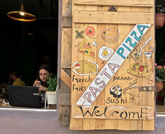 Pasta Pizza (cowyeow) Tags: yerevan armenia caucuses city urban street travel door shutter window restaurant wood old painting folkart art design cafe artistic coffee coffeeshop food welcome doodles pasta sushi penne frenchfries pizza beer drinks bar sign funnysign girl woman cute pretty candid people