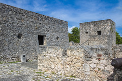 bacalar fort (ikarusmedia) Tags: fort colonial ancient rocks old bacalar quintana roo mexico museum canon blue sky trees