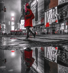 Lady In Red (Photography_Ninja) Tags: nightphotography nightshooter sony sonyilce7rm3 sonya7r3 a7r3 a7rlll sel24105g fe24105mmf4goss reflection nyc timessquare mirrorless puddle red womaninred
