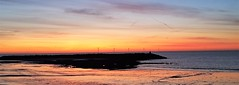 Panorama Sunrise Over The Beach at Newbiggin (P) (Gilli8888) Tags: cameraphone samsung s7 newbigginbythesea newbiggin northeast coast seaside northumberland sunrise shoreline seascape sun sky water rocks beach turbines windturbines panorama colour northsea silhouette silhouettephotography