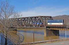 Stack Train in McKeesport (craigsanders429) Tags: csxstacktrains bridge railroadbridges csx csxtrains pittsburgharearailroads mckeesportpennsylvania csxpittsburghsubdivision river water waterways youghiohenyriver