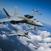 F/A-18E Super Hornets from Strike Fighter Squadron 136 fly in formation over Calf.