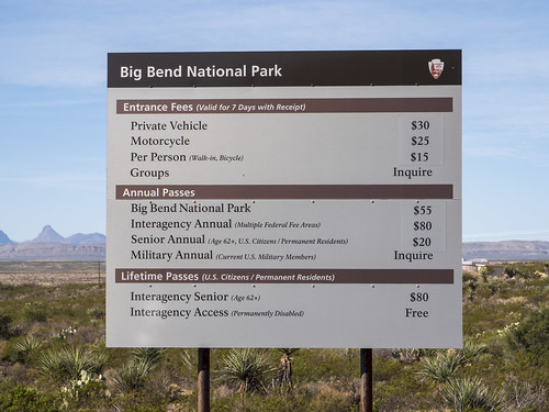 Big Bend National Park  Fees Sign