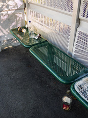 The Morning After (Steve Taylor (Photography)) Tags: can bottle coffeecup busshelter green white glass metal tarmac newzealand nz southisland canterbury christchurch cbd city sunny sunshine shadow