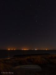 Skagen by night (Mr.Borup) Tags: orion langeksponering longexposure nat skagen stjerner stars sky himmel nightsky nattehimmel sønderstrand beach lighthouse boat dunes klit klitter ocean sea hav nightscape