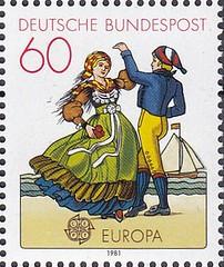 Deutsche Briefmarken (micky the pixel) Tags: briefmarke stamp ephemera deutschland bundespost europamarke folklore tracht costume friesland