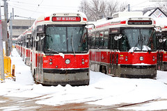 Truly Canadian colours: red and white (Can Pac Swire) Tags: 2019aimg8375 ttc toronto ontario canada canadian streetcar tram red snow winter wintry yard greenwood fleet russell 1433 queen street st e east