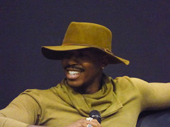 Mehcad Brooks (Steve Taylor (Photography)) Tags: mehcadbrooks hat microphone moustache rings portrait purple cool man newzealand nz southisland canterbury christchurch smile smiling armageddonexpo addington armaggedon