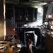 Kitchen fire damage stock photo