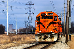 Northern Indiana Power (BravoDelta1999) Tags: chicagosouthshoreandsouthbend csssb railroad css freight southshore railway michigancity indiana emd gp382 2000 manifest train power siding