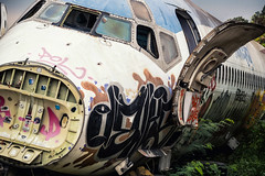 Holding Pattern (Carl's Captures) Tags: mcdonnelldouglas md82 jet airplane airliner fuselage nose door graffiti windows windshield tilted airplanegraveyard bangkokthailand ramkhamhaengdistrict southeastasia aviation aircraft retired abandoned dereliction deserted dissected urbanexploration deterioration wasteland scrapped stripped dismantled wreckage surreal flight plane travel transportation thai siam asian metal bare insulation jagged rust rusty junked restingplace hull forsaken broken brokenness outdoors landscape banked leaning weeds flora decals stickers spraypaint vandalism scribbling tagging grounded urbex nikond7500 sigma18300 photoshopbyfehlfarben thanksbinexo