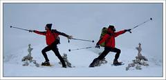 Different Twins (pepe50) Tags: caicarpi ciaspole sennes rifigiosennes snow guerriero yoga warriors pepe50 myself red leisure party travel mountain ps italy italia winter inverno wintergames