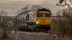 On the Bowden bend (Peter Leigh50) Tags: railway railroad rail rural train trees track fujifilm fuji freight ketton cement shed gbrf class 66 xt2 telephoto locomotive diesel engine