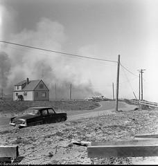11248 -fire- The corner where Ocean Drive meets Beach Loop Road nears the Table Rock Motel, gorse fire near Table Rock, May 1958, Western World photo.jpg (taorsi) Tags: bandon oregon unitedstatesofamerica us