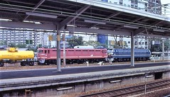 Japan Rail double-headed electric freight locomotives at Kyoto in the mid-90s (Tangled Bank) Tags: jr japan rail japanese asia asian urban train station pasenger equipment stock kyoto 1990s 90s railway railroad
