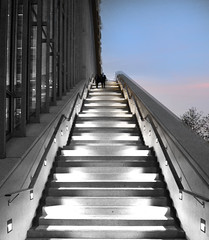 A few steps... (born to be an artist) Tags: blackandwhite sky architecture stairs people