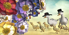 The Tasty One's (Jewel Appletor aka Karalyn Hubbard) Tags: lode flowers blooms ducks ducklings dinner snack food waterfowl photography illustration creative art digitalart pixlperfectphotography tophat whimsical strawhat bai
