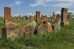 Khachkars at Noratus Cemetery (cowyeow) Tags: lakesevan armenia caucuses sevan travel composition culture design old cemetery carving cross crosses faith christianity orthodoxchristianity noratus noratuscemetery tombstone beautiful khachkars