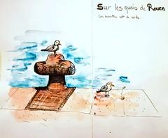 Sur les quais de Rouen. (cecile_halbert) Tags: aquarelle watercolor croquis dessin esquisse drawing sketch nature bird mouette paysage lanscape seagulls