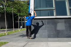 (@AmirsCamera) Tags: kualalumpur skateboard blue green streetphotography street pasarseni mrt shadow fun activity people man skate olympus omdem1 omd colour color kl city urban life january 2019