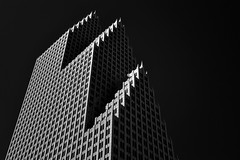 Bank of America Center, Houston (infrared) (dr_marvel) Tags: ir infrared houston tx texas sky clear black blackandwhite monochrome bank ba bankofamerica skyscraper building