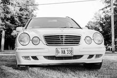 Mercedes E320 Wagon (JBAdams) Tags: 1959nikonf 35mmfilm bw fujiacros100 maine mercedes mercedese320 mercedesbenz nikkors502 plustekopticfilm120 automobile availablelight blackandwhite car film manualfocus wwwjonathanbadamscom mercedesw210 50mmf2s