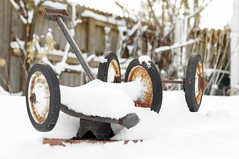 Winter's Silence (backbeatb00gie) Tags: 40mm backyard comfort nikon outside quiet snow wagon winter