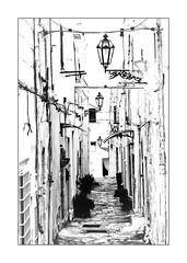 Les trois lampadaires (Jean-Louis DUMAS) Tags: noiretblanc pouilles italia italie blanc noir blackandwhite bw nb lampadaire town village street rue