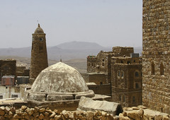 Roof Of A Mosque And Minaret, Hababa, Yemen (Eric Lafforgue) Tags: arabia arabiafelix arabianpeninsula architectural architecture colourpicture day dome historical history horizontal housing minaret mosque nopeople placeofinterest yemen img1517 copyspace hababa
