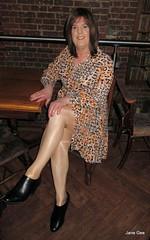 Something missing (janegeetgirl2) Tags: transvestite crossdresser crossdressing tgirl tv ts trans jane gee black ankle boots biker jacket brighton battle hastings 1066 leopard dress animal
