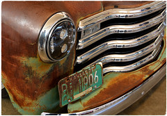 Old and New. Plenty of Rust. (bobchesarek) Tags: patina rust rusty vintage old truck chevrolet chrome hidheadlight licenseplate faded worn
