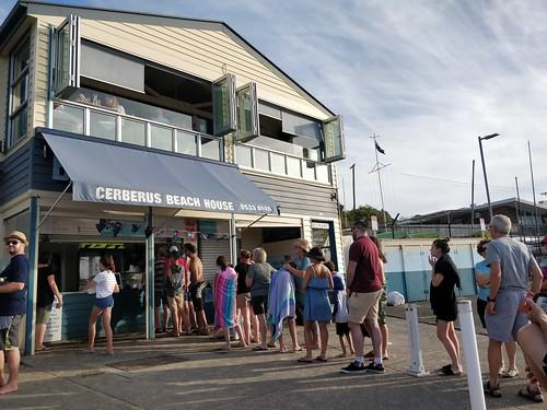 Long queue at 7pm at Cerberus Beach House