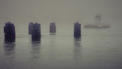 Out of the Fog (mato kuwapi) Tags: 2019 february texas shoreline fog carferry port aransas portaransas