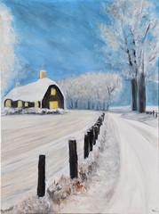 Paysage de neige (Croc'odile67) Tags: peintureàlhuile oilpainting paysage landscape painting peinture art neige snow