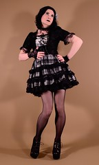 120H3L (klarissakrass) Tags: gothic gothiclolita costume gothicfashion sexylegs tranny heels highheels sexyshoes tartan nylons transgender pinup crossdress crossplay