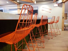 Orange Chairs At Field Guide (Joe Shlabotnik) Tags: stowe vermont orange chairs fieldguide cameraphone galaxys9 february2019 2019