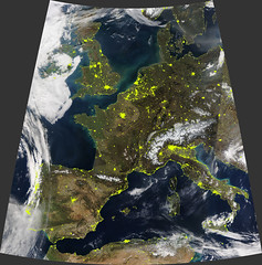 Mostly Cloud-Free Europe, Day and Night (sjrankin) Tags: 3march2019 edited nasa europe clouds modis suominpp citylights atlanticocean mediterraneansea weather