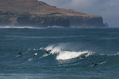Surfing yesterday (Ian@NZFlickr) Tags: surf surfing waves spray wind st clair lawyershead dunedin nz otago telephoto through window