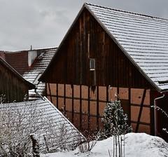(Gerlinde Hofmann) Tags: germany thuringia village bürden snow march11 barn halftimbered roof