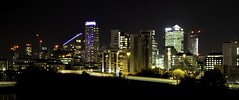 DLR Drive-By Night (Douguerreotype) Tags: canarywharf london dark uk docklands buildings cityscape british lights architecture city britain night gb urban england