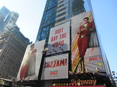 Shazam The Big Red Cheese Billboard 42nd St NYC 4345 (Brechtbug) Tags: shazam billboard 42nd street new captain marvel the big red cheese poster ad nyc 2019 times square movie billboards york city work working worker paint painting advertisement dc comic comics hero superhero alien dark knight bat adventure national periodicals publication book character near broadway shield s insignia blue forty second st fortysecond 03202019 lightning flight flying march