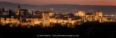 Panoramic View of The Alhambra Palace, Granada, Just After Sunset (john@johnrobertsimages.co.uk) Tags: ancient alhambra andalusia cityscape building sunset church old landmark andalucia city outdoor mansion evening town granada housing castle fortress urban spain palace travel tower metropolis medievalarchitecture architecture sacromonte steeple outdoors spire dusk churchbuilding europeanunion fortification houseofgod houseofprayer houseofworship outside es