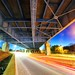 Traffic Under the Bridge (Kirby Wright) Tags: long exposure light trails bridge under metal frame work old middleton madison wisconsin dane county traffic night sky time warp speed nikon d700 rokinon 14mm f28 manfrotto tripod flare lens wide angle blue hour road street