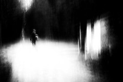"""""""And the passenger pauses to see his mistakes..."""" (Lucretia My Reflection) Tags: blackandwhite bw forest wood wilderness shadow icm intentionalcameramovement cameramovement movement creepy haunting cabin oldcabin abandoned path"""