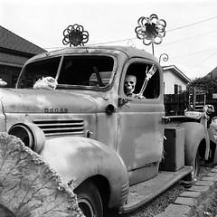 1946 Dodge Truck (bac1967) Tags: rolleiflexautomattlr rolleiflex rolleiflexautomat rolleiflexk4b tlr twinlensreflex mediumformat 6x6 120film 120 ilfordpanfplus50 ilford ilfordfilm ilfordpanf50 pan panfilm blackandwhite black blackandwhitefilm blackwhite film monochrome monotone pacificnorthwest pnw washington washingtonstate wa white rodinal rodinal150 ro9 ro9oneshot hwy2 hoghway2 squareformat square decay decayed decaying ruraldecay rusty rural rust crusty abandoned weathered truck skeleton driver 1946dodgetruck dodge pickup pickuptruck sideboard stepside stepsidetruck schwinn bicycle bike girlsbike gotteeth truckbed startup startupwa