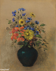 Wildflowers by Odilon Redon (Free Public Domain Illustrations by rawpixel) Tags: art arts artwork beautiful bloom blossom blue bouquet classic decor decoration drawing floral flower flowers french fresh illustration interior natural odilonredon orange painting paper pastel poster redon retro spring stilllife style summer vase vintage wildflowers yellow