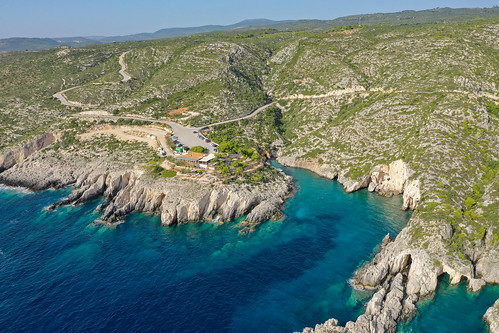 Porto Limnionas bay Zakynthos, Greece aerial