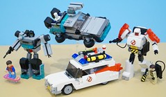 Revised 80s Movie Autobots (Hobbestimus) Tags: lego moc transformers backtothefuture ghostbusters ecto1 delorean timemachine martymcfly raystanz docbrown 80s movie cartoon toys