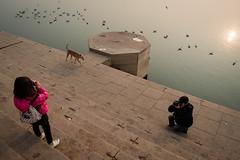 Triangle (SaumalyaGhosh.com) Tags: triangle father daughter dog morning water birds river riverside benaras varanasi color street streetphotography fuji fujifilm xt2
