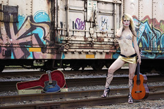 Abandoned Train Tracks (MoonFlowerModel) Tags: guitar gold bralette see through top short skirt no panties high heels train tracks sexy body model acoustic grafitti gorgeous glamour girls amazing adorable background young people fashion